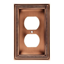 Liberty Hardware - Liberty Hardware 64244 Beaded WP Collection 3.19 Inch Switch Plate - A simple change can make a huge impact on the look and feel of any room. Change out your old wall plates and give any room a brand new feel. Experience the look of a quality Liberty Hardware wall plate. Width - 3.19 Inch, Height - 5 Inch, Projection - 0.3 Inch, Finish - Aged Brushed Copper, Weight - 0.33 Lbs.
