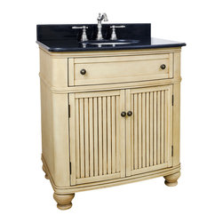 """Hardware Resources - Lyn Design VAN028-T - This 32"""" wide MDF vanity has simple beadboard doors and curved shape to accent the traditional cottage feel. The buttercream finish with antique crackle is created by hand, making each vanity unique. A large cabinet, fully functional top drawer fitted around plumbing and interior pull-out drawer, equipped with ball bearing slides, provide ample storage. This vanity has a 2 cm black granite top preassembled with an H8809WH (15"""" x 12"""") bowl, cut for 8"""" faucet spread, and corresponding 2 cm x 4"""" tall backsplash. Overall Measurements: 32"""" x 23"""" x 35"""" (measurements taken from the widest point)"""