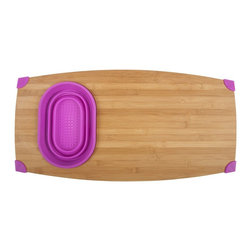 Over The Sink Bamboo Cutting Board - Use this Over the Sink bamboo and silicone cutting board to prep food directly above your sink to eliminate mess and make prep work a breeze. Wash vegetables and fruits and chop them into pieces in one convenient work space.