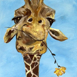 Contemporary Giraffe Art Print By ContemporaryEarthArt - Add a quirky, colorful giraffe print to your nursery, it is sure to give baby a giggle!