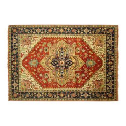 Manhattan Rugs - New Traditional Hand Knotted Heriz 10x14 Rust Red/Navy Blue Wool Area Rug H3499 - This is a true hand knotted oriental rug. it is not hand tufted with backing, not hooked or machine made. our entire inventory is made of hand knotted rugs. (all we do is hand knotted)