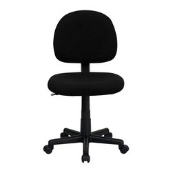 Flash Furniture - Flash Furniture Armless Ergonomic Task Chair in Black - Flash Furniture - Office Chairs - BT660BKGG - This value priced task chair will accommodate your essential needs for your home or office. Ergonomically correct chair that is both comfortable and well priced will satisfy the needs of most computer users. [BT-660-BK-GG]