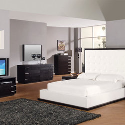 Elegant Leather Contemporary Design Set - This contemporary Tamara Collection Bedrooms stands for the ultra modern design, which is so in demand these days. It has a very modern up to date look, and will make any bedroom unique as the unique and striking furniture certainly speaks for itself.