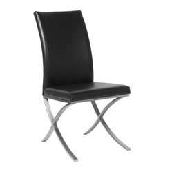Allan Copley Designs Emma Set of Two Dining Chairs in Black Leatherette w/ Polis