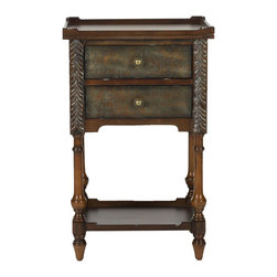 Safavieh - Marge End Table - Dark and lovely, the Marge end table brings Old World romance to any bedroom. Carved details, spindle legs and a dark brown finish give this 2-drawer table, crafted from birch, all the charms of traditional style.