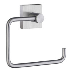 Smedbo - House Euro Toilet Roll Holder in Brushed Chrome Finish - Concealed fastening. 5.75 in. W x 3.75 in. H