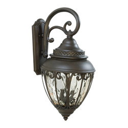 Exteriors - Exteriors Olivier Traditional Outdoor Wall Sconce - Large X-89-4283Z - This large Craftmade Olivier Traditional Outdoor Wall Sconce has a look that is sure to turn heads. Notice the intricately designed frame in a rich and warm, aged bronze finish that surrounds the shapely, champagne hammered glass shade. It's a marvelous, three-light piece that will enhance the look of your home as it shine a warm and welcoming glow of light.