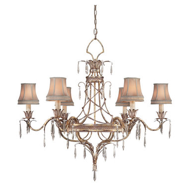 Fine Art Lamps - Pastiche Chandelier, 407040ST - This intricately designed chandelier is full of delicate, opulent details, from the elegant fretwork body with foliage accents to the draped chain and pointed crystal drop ornaments. Each candelabra-style light is covered in a hand-tailored silk shade, giving a soft, romantic glow that makes the crystals twinkle. A warm platinized silver-leaf finish keeps this refined piece from feeling cold.
