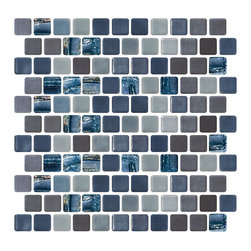 Susan Jablon Mosaics - Blue Silver And Gray Recycled Glass Tile - Three different glass tiles in shades of gray, blue, and silver are combined to form this custom mosaic blend we will make by hand for you in our studios in upstate New York. 100% recycled glass tile. Perfect for interior or exterior installations. Eco-friendly never looked so good! Certified by the U.S. Green Building Council for L.E.E.D. Projects, the beauty of these recycled glass tiles prove you don't need to sacrifice to be sustainable. They are suitable for a wide range of uses, indoors and outdoors, in dry or wet locations. A custom mosaic design using these tiles can make a gorgeous, responsible, design statement in your pool, kitchen bathroom, dining room – anywhere! It is very easy to install as it comes by the square foot on mesh and it is very easy to clean! About a decade ago, Susan Jablon re-ignited her life-long passion for mosaics and has built a customer-focused, artist-driven, business offering you the very best in glass and decorative tiles and mosaics. We are a glass tile store committed to excellence both personally and professionally. With lines of 100% SCS Qualified recycled tile, 12 colors and 6 shapes of mirror, semi precious turquoise stones from Arizona mines, to color changing dichroic glass. Stainless steel tiles in 8mm and 4mm and 12 designs within each, and anything you can dream of. Please note that the images shown are actual photographs of the tiles however, colors may vary due to the calibration of each individual monitor. Ordering samples of the tiles to verify color is strongly recommended. This mosaic features recycled and iridescent glass tiles.