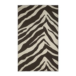 Zebra Rug - Ground your room with a fun eclectic base; a fun cruelty-free zebra rug in chocolate and cream. 100% wool; cotton backing. Price shown is for 9'x12'; available in other sizes