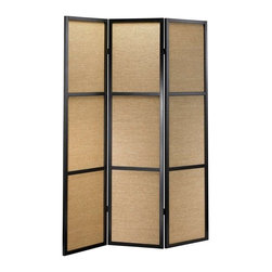 Adesso - Adesso Haiku Folding Screen, Black - WK3804-01 - Wood frame with three woven bamboo panels
