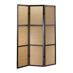 Adesso - Adesso Haiku Folding Screen, Black - WK3804-01 - Wood frame with three woven bamboo panels