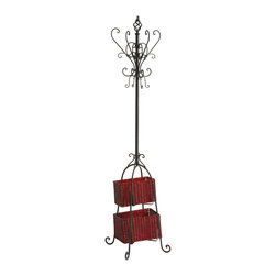 Holly & Martin - Holly & Martin Graham Hall Tree with Rattan Storage-Black - Proof that organization doesn't have to be boring, this stylish black coat rack and its graceful scroll detail is sure to be a welcome addition to your home or office. With plenty of hooks for hats, coats, jackets or scarves, the baskets add additional storage space for umbrellas, small totes or mittens. The small basket measures 11 inches by 6 inches by 7 inches tall and the large basket measures 13 inches by 7. 5 inches by 7. 5 inches tall.