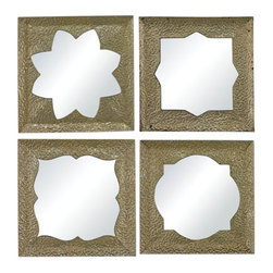 Sterling Industries - Sterling Industries 138-065/S4 Pine Island Mirrors in Silver Leaf With Heavy Gol - Pine Island-Set Of 4 Moroccan Motif Inspired Mirrors