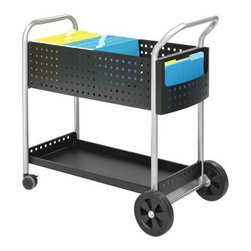 Safco Scoot™ Mail Cart - 32 Inch - The Scoot Mail Cart - 32 Inch offers a practical solution for moving files mail and packages all with a nice touch of modern styling. The top bin is sized to accommodate legal file folders while the bottom features a lip to keep packages and boxes on board during transit. There's also a handy side pocket for miscellaneous items.Navigating the Scoot Mail Cart is easy. Enjoyable even when you consider the ergonomically curved handle large 8-inch rear wheels and 3-inch swivel casters. With this kind of control you can hug corners weave around clutter and arrive with your cargo intact. Feel free to make vrooming and screeching noises as needed.This car features a durable all-steel construction so you can count on years of useful service around the home or office.About Safco ProductsSafco products were specifically developed to meet the changing needs of the business world offering real design without great expense. Each product is designed to fit the needs of individuals and the way they work by enhancing comfort and meeting the modern needs of organization in the workplace. These products encourage work-area efficiency and ultimately work-life efficiency: from schools and universities to hospitals and clinics from small offices and businesses to corporations and large institutions airports restaurants and malls. Safco continues to offer new colors new styles and new solutions according to market trends and the ever-changing needs of business life.