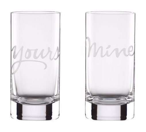 "Kate Spade New York by Lenox - Kate Spade Yours and Mine Hi-Ball Glasses (2 Piece Set) - What's mine is yours. Perfect for the happy couple, these Kate Spade New York highball glasses speak volumes in luminous crystal etched with ""yours"" and ""mine."""