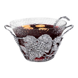 Arthur Court - Grape Punch Bowl - Add a little punch to your serveware arsenal with this gorgeous bowl. Exquisitely detailed, it's made of substantial aluminum in a grape leaf pattern and fitted with a glass bowl. Perfect for holiday parties, wedding showers and other special occasions, use it to serve sangria, punch or lemonade.