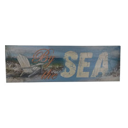 Handcrafted Nautical Decor - Wooden Rustic By the Sea Beach Sign 24'' - Our   Wooden Rustic By The Sea Beach Sign 24'' is the perfect choice to display   your affinity for decorating a beach house. Whether placing this sign in a beach house, using it as a coastal decorating idea, or hanging it up as part of   your beach bedroom decor, one thing is for   certain: you are sure to inject the beach lifestyle into your humble   abode.------    Easily mountable to hang outside or inside--    Solid wood--    Handcrafted and highly detailed--