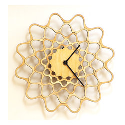 Embroidery - contemporary modern wall clock made of wood - Unique stylish wall clock made using natural materials.