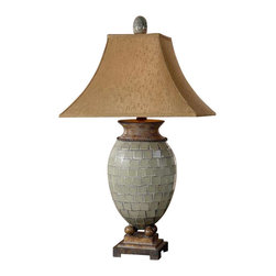 Uttermost Kayson Green Mosaic Table Lamp - Pale blue green mosaic tiles with heavily burnished chestnut brown details. Pale blue green mosaic tiles with heavily burnished chestnut brown details. The rectangle bell shade is a rusty bronze fabric with natural slubbing.