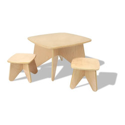 Ecotots - Ecotots Project Table and Stools Set - Take a stand for the environment (or in this case a seat). We noticed that no two toddlers sit the same way, which was the inspiration for our Project Table and Stool. Whether she sits, stands or kneels, our Project Table and Stool will always be just the right height. Stools nest underneath table and out of the way when not in use. Mix It In the playroom, family room or kids bedroom. Product Attributes