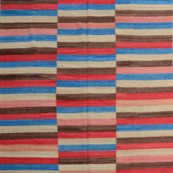 """ALRUG - Handmade Multi-colored Oriental Kilim  6' 11"""" x 9' 4"""" (ft) - This Afghan Kilim design rug is hand-knotted with Wool on Wool."""