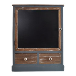 Enchante Accessories Inc - Wood Cabinet with 2 Drawers and Chalkboard front door(Gray/Natural) - Wood cabinet with 2 drawers and a chalkboard front door