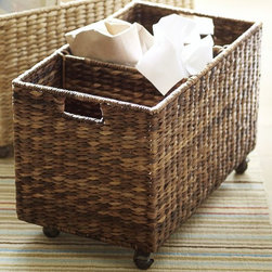 Havana Recycle Bin Basket - Rolling storage is genius for everything from files and throw blankets to the recycling. This little buddy is quite lovely.