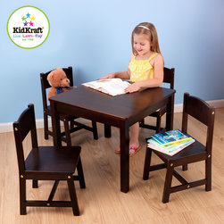 Kidkraft - Kids Farmhouse With Table and 4 Chairs in Espresso Color - This Kids Farmhouse with Table and 4 Chairs in Espresso color provides kids with a perfect space for playing board games, working on homework and many more fun.