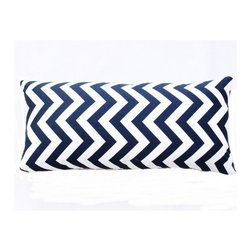 5 Surry Lane - Navy Zig Zag Lumbar Pillow - This vibrant, cheery pillow will breathe new life into any space.  The eye-catching zig zag motif adds the perfect dose of pattern and color.  Create a uniquely stunning vignette by mixing and matching with a variety of colors and patterns. Same fabric front and back.  Down feather insert included.  Hidden zipper closure.  Made in the USA.
