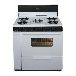 "Premier - SLK249WP White 36"" Three-Way Top Electronic Spark Gas Range with 3.9 Cu. Ft. Cap - The SLK249WPWhite 36 Three-Way Top Electronic Spark Gas Range from Premier is a very unique range it is great for families of all sizes and has several features It has the oven capacity of 39 cu ft five cooktop burners the center burner includes burn..."