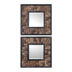 Uttermost - Barros Squares S/2 Mirror - Frame Is Coconut Shell Layered In A Basket Weave Design With Distressed Black Inner And Outer Edges. Mirror Is Beveled.