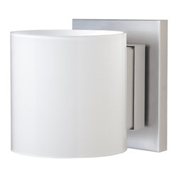 Besa Lighting - Besa Lighting 1WS-718006-SN Pogo 1 Light Sconce With Opal Glossy Shade - Pogo Wall is a timeless open cylinder of handcrafted glass, that demonstrates contemporary sensibilities. Our Opal Glossy glass is a opal cased glass with a contemporary polished finish and opal inner layer. The tranquil glow has a low key harmonious display that exudes a warm mood. When lit the glass is vitalizing as well as stylish. This blown glass is handcrafted by a skilled artisan, utilizing century-old techniques passed down from generation to generation. The sconce fixture is equipped with plated steel square lampholders mounted to linear rectangular tubing, and a low profile square canopy cover. These stylish and functional luminaries are offered in a beautiful Satin Nickel finish.