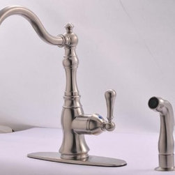 Hardware House - Plumbing - 13-5139 Brushed Nickel Single Lavatory Kitchen Faucet - Single Handle Kitchen Faucet with Spray
