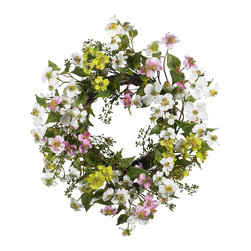 """Nearly Natural - 20"""" Dogwood Wreath - Few flowers can provide the soft beauty like the dogwood. There's just something """"warm and sunny"""" about these magnificent flowers. And this dogwood wreath perfectly captures that feeling. A full 20"""" in diameter, the whites, greens, pinks, and yellows mix hypnotically to provide a breath of fresh air that says """"springtime"""" all year round'! Perfect for your kitchen, sunroom, or as a gift for that """"sunny"""" person in your life."""
