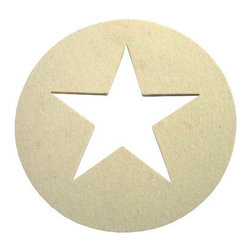 The Felt Store - Designer Felt Circle Star - Single - The Felt Store presents the decorative star.  This handy decorative item is the perfect craft accessory, home decor item or tree ornament and is made of a high quality felt.  Whether you choose our single star which is 4.75 inches wide and 0.13 inches thick or our circle star cut out which has a diameter of 6.75 inches and is 0.13 inches thick, the decorative star is great for any time of the year and is machine washable.