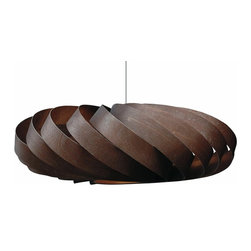 Ecofirstart - Wooden Lights/ TR5, Walnut - Seemingly afloat like a weightless cloud, Tom`s beautiful and very serene TR5 pendant light uses a continuous flowing pattern of delicate birch veneer strips, gently curved and fixed to create the design`s pure and geometric flattened circular shape. Entirely handmade, the TR5 light can be used with either incandescent or energy saving ES bulbs. So as not to distract from its simple design, the light is usually hung and therefore supplied without a ceiling fixture, but alternatively you can use a standard white ceiling rosette (not included). Its flex is kept to a super long 4.5m, making it particularly suitable for very tall hall spaces and stairways. TR5 is available in a choice of three wood veneer finishes, natural, brown, and black.