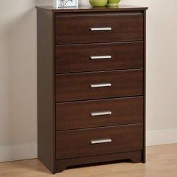 Coal Harbor 5 Drawer Chest - Espresso - Function and style should never be too much to ask for, and the Coal Harbor 5 Drawer Chest – Espresso is just another example that you can have it all. This tall, elegant chest starts with a body of durable composite wood that's covered in a handsome laminate that sports a medium-tone wood grain. Beveled edges around the top, brushed metal drawer pulls and flush-drawer faces stir a bit of modern style into the mix. Each of the 5 drawers slide smoothly on metal guides that help it show off the solid hardwood sides and their lacquered finish. Safety-stops help make sure that the drawers stay in place, and a tipping restraint kit will keep this tall dresser upright at all times.About Prepac ManufacturingPrepac is a successful designer and manufacturer of functional and stylish RTA (ready to assemble) home furniture. They have been manufacturing state-of-the-art home furnishings and storage products in the heart of the forest-rich West Coast since 1979.To ensure that customers receive the highest quality products, Prepac's design, engineering, production, testing and packaging are all performed in-house. Each component of every product is carefully engineered to be produced with minimal handling, without compromising quality, function and value. Prepac's state-of-the-art materials management system tracks every component from cutting through to packaged goods, inventory support, and fulfillment to final delivery.Most of Prepac's RTA products are made from a combination of engineered woods. Engineered Wood is a mixture of high quality hard and soft wood materials, which generally come from the surplus of original lumber processing. These materials are bonded together with a synthetic resin, in a process under high heat and pressure to make a very stable, environmentally friendly product. The result is dense, strong panels, which are then laminated with durable, attractive finishes.
