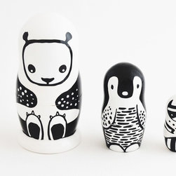 Nesting Dolls, Black and White Animals - These nesting dolls are super sweet to look at, but even more fun to play with. I love the black and white graphics.