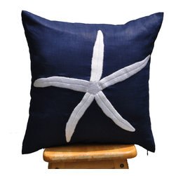 Starfish Nautical Pillow Cover - Embroidered Pillow cover - These throw pillow covers add a wonderful accent inside your nautical decor. They will be a perfect decor for your cottage, beach house, sailboat or to bring coastal atmosphere to any room.