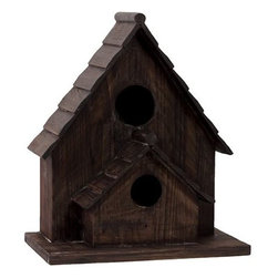"Benzara - Delightful Double Entrance Detached Wooden Bird House - Charming and cozy, the Delightful Double Entrance Detached Wooden Bird House has a traditional feel and look to it and will be perfect for your garden or lawn. Place this charming bird house in your exterior settings and watch as birds descend to raise their young right in your background. Sporting a lovely chocolate color, the bird house is made from quality wood with arched roofs and two door entrances. The dimensions of the Delightful Double Entrance Detached Wooden Bird House are 15""x9.25""x17.75""H. Wood; Dark chocolate brown; 15""x9.25""x17.75""H; Dimensions: 15""L x 9""W x 18""H"