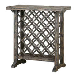 Annileise Wooden Wine Table - Casual Wine Storage Displayed In Poplar Wood Latticework In A Sun Faded, Weathered Charcoal Finish Showing Multiple Layers Of Hand Distressing. Bulbs Included: No