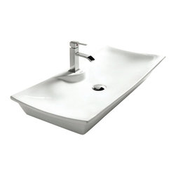 Caracalla - Rectangular White Ceramic Vessel Bathroom Sink, One Hole - Modern design, rectangular white ceramic vessel bathroom sink with one hole. Beautiful above counter washbasin comes without overflow. Made in Italy by Caracalla.