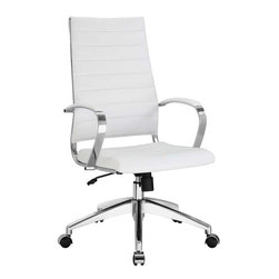 Modway - Jive Highback Office Chair in White - Steer the course and sail to an island called style. Jive is the result of chair makers who decided to design a chair that just works. Functionally, it is a pleasure to sit in as the durable ribbed vinyl back provides natural posture support. The seat cushion and arms are padded, while the form of the armrests were intended maximize a 90 degree wrist angling for typing. Jives chrome-plated aluminum base is fitted with five dual-wheel casters, while a tension knob and tilt lock allow for easy back position adjustments. This is a chair made for the modern office, and a welcome embodiment of the spirit of progress and determination.