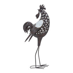 Woodland Import - Artistic Metal Rooster Statue - 38H in. Multicolor - 52274 - Shop for Sculptures Statues and Figurines from Hayneedle.com! The Artistic Metal Rooster Statue - 38H in. is more than happy to strut around your garden patio or even your kitchen. Made of metal he s brimming with rich details all with a cool contemporary flair. The U-shaped base gives him extra stability. Suitable for indoor or outdoor use.
