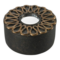 Sterling Industries - Scroll Work Box With Mirrored Top - Scroll Work Box With Mirrored Top