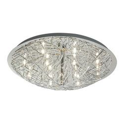 Eglo - Eglo 90148A 12 Light Flush Mount Ceiling Fixture Cromer Collection Ball - Eglo 90148A Cromer 12 Light Flush Mount Ceiling FixtureMother nature and technology meet to create this stunning flush mount ceiling fixture from the Cromer Collection. Featuring Bowl Shaped Chrome Metal forming tree branch-like shapes in Chrome , this impressionistic piece will surely be the center of attention in any room. Electronic Ballast Included.Eglo 90148A Features: