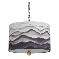 "AF Lighting - AF Lighting Mountain Air 3 Light Pendant w/ Gray Cream Poly Fabric Shade - AF Lighting 8322-3H Printed Horizon Series ""Mountain Air"" Pendant with Gray / Cream Poly Fabric Shade, Finished in Printed"
