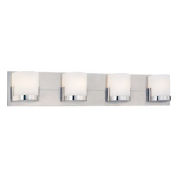 George Kovacs - George Kovacs P5954-077 Convex 4 Light Bathroom Vanity Wall Sconce - - Brushed Aluminum with Chrome