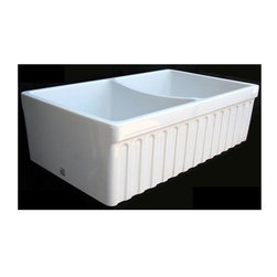 Whitehaus - 33 in. Quatro Alcove Reversible Double Bowl K - Color: WhiteQuatro Alcove Reversable double bowl fireclay sink with Fluted Front Apron. Decorative 2 1/2in. lip on one side and 2in. lip on the other. 3 1/2in. offset center drain. Sink is finished on all four sides. Bowls are equal in size dna depth. Outer Dimensions: 33in. x 20in. x 10in.. Bowl Dimensions: 15in. x 18in. x 9in.